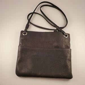Margot black leather crossbody purse